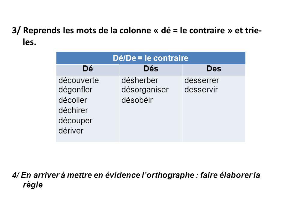 3/ Reprends les mots de la colonne « dé = le contraire » et trie- les. 4/ En arriver à mettre en évidence l'orthographe : faire élaborer la règle Dé/D