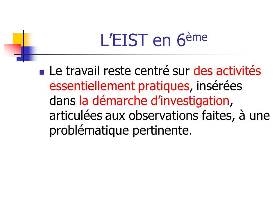 L'EIST en 6 ème Le travail reste centré sur des activités essentiellement pratiques, insérées dans la démarche d'investigation, articulées aux observa