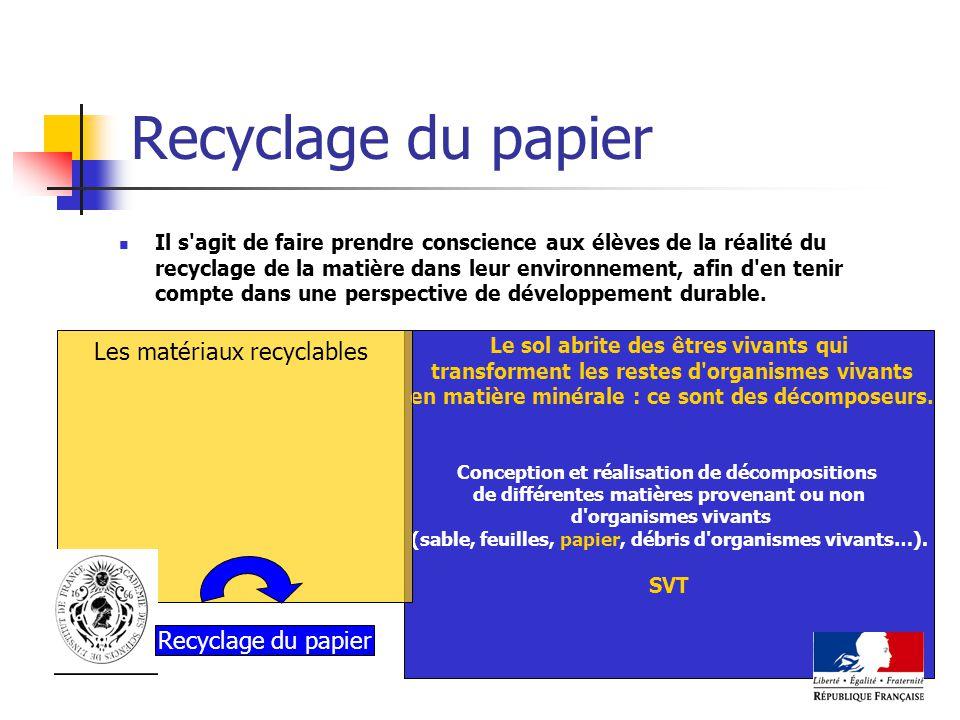 Recyclage du papier Il s'agit de faire prendre conscience aux élèves de la réalité du recyclage de la matière dans leur environnement, afin d'en tenir