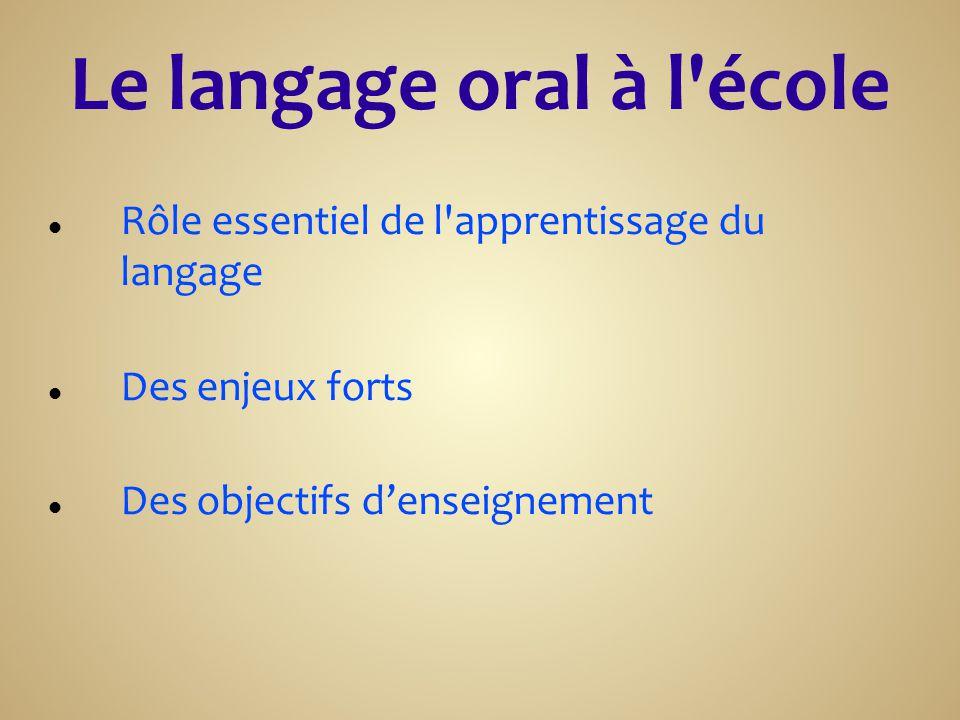 Rôle essentiel de l apprentissage du langage Des enjeux forts Des objectifs d'enseignement
