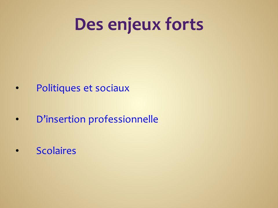 Des enjeux forts Politiques et sociaux D'insertion professionnelle Scolaires