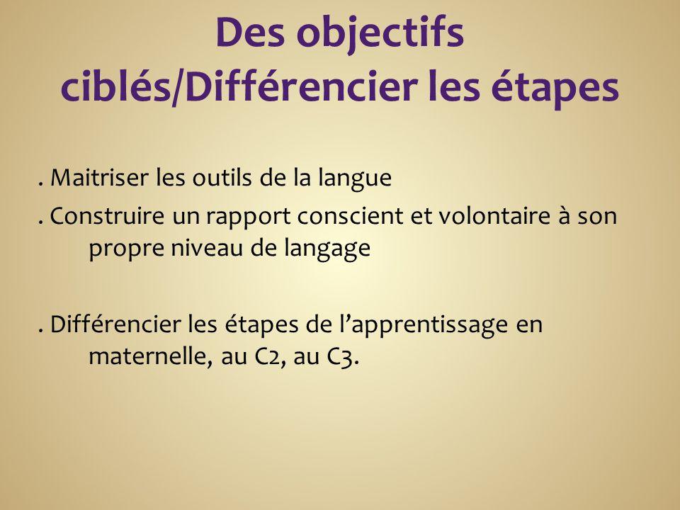 Des objectifs ciblés/Différencier les étapes. Maitriser les outils de la langue.