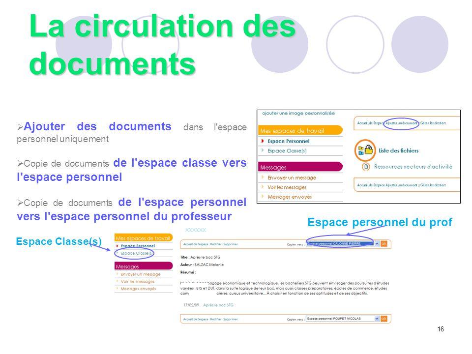 La circulation des documents  Ajouter des documents dans l'espace personnel uniquement  Copie de documents de l'espace classe vers l'espace personne