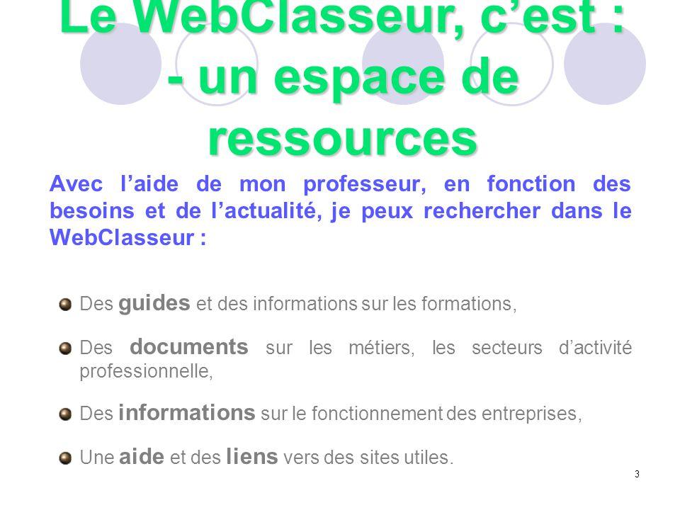 Avec l'aide de mon professeur, en fonction des besoins et de l'actualité, je peux rechercher dans le WebClasseur : Des guides et des informations sur