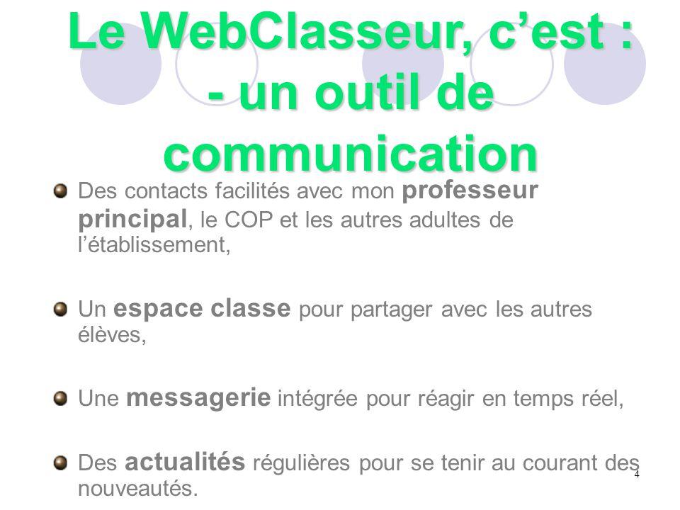 Le WebClasseur : disponible sur internet.