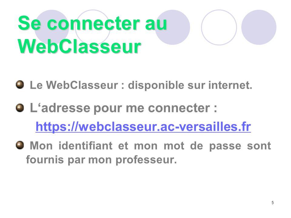 Le WebClasseur : disponible sur internet. L'adresse pour me connecter : https://webclasseur.ac-versailles.fr Mon identifiant et mon mot de passe sont