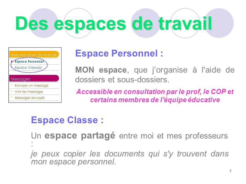 Des espaces de travail Espace Personnel : MON espace, que j'organise à l'aide de dossiers et sous-dossiers. Accessible en consultation par le prof, le