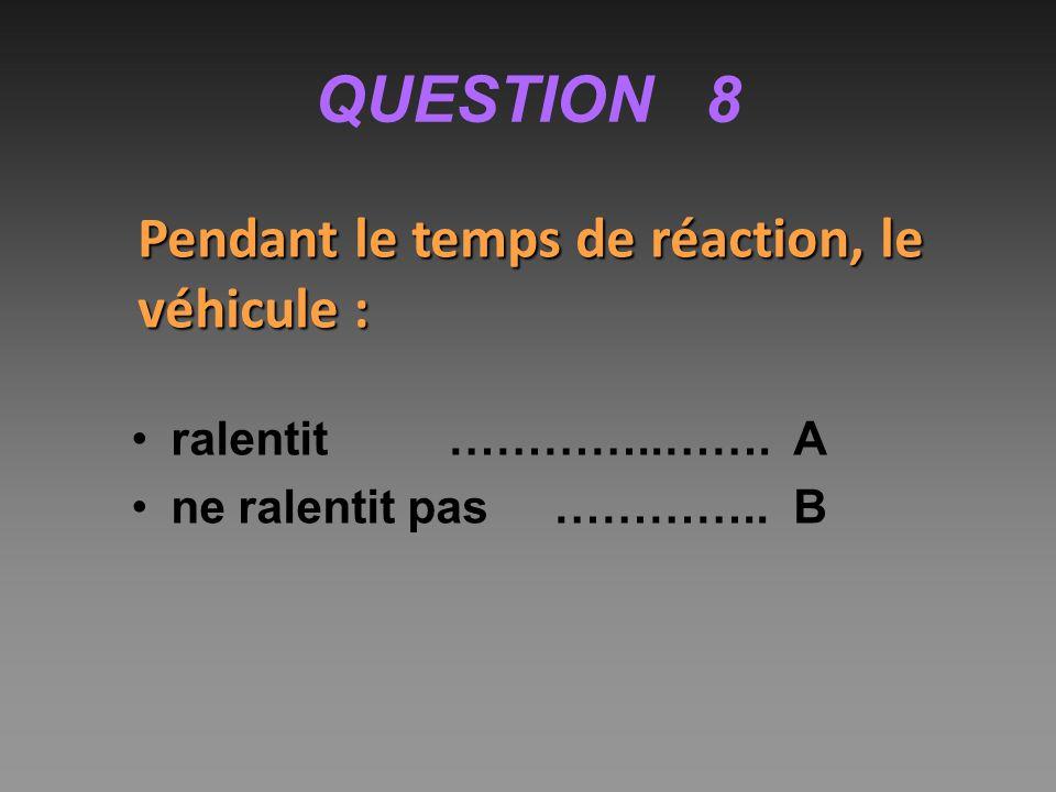 QUESTION 8 Pendant le temps de réaction, le véhicule : ralentit…………..……. A ne ralentit pas………….. B