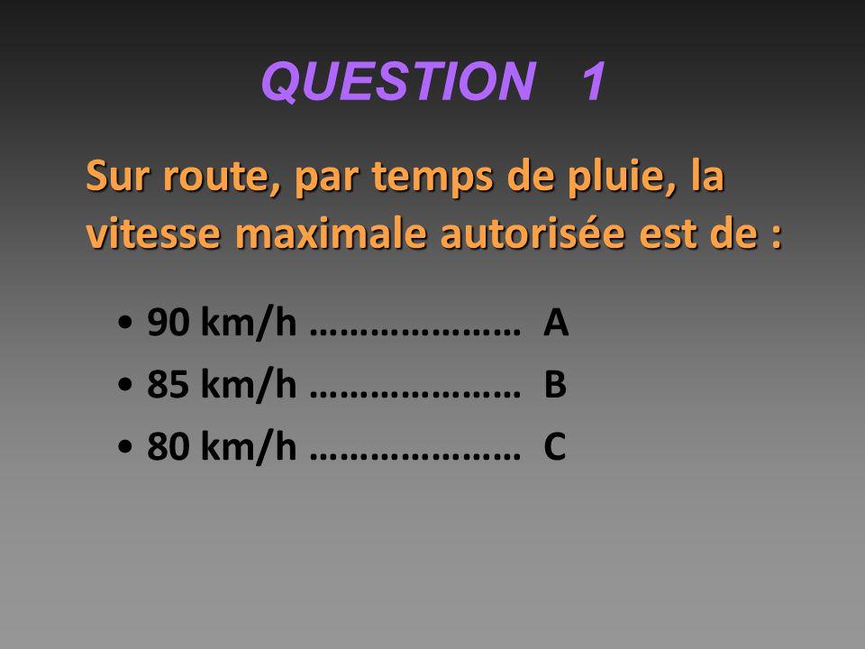 QUESTION 11 Si la vitesse est multipliée par 2, la distance de freinage est multipliée : par 2 ……………………A par 4 ……………………B par 6 ……………………C Le temps de freinage augmente avec la vitesse, et la distance parcourue pendant ce temps augmente aussi avec la vitesse.