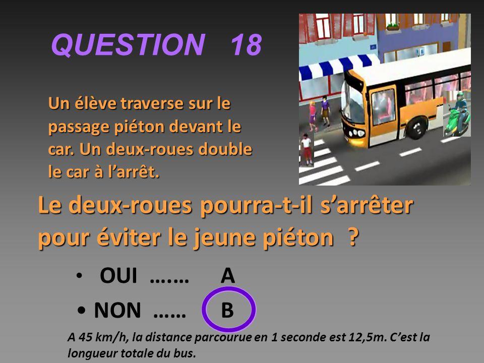 QUESTION 18 Un élève traverse sur le passage piéton devant le car.