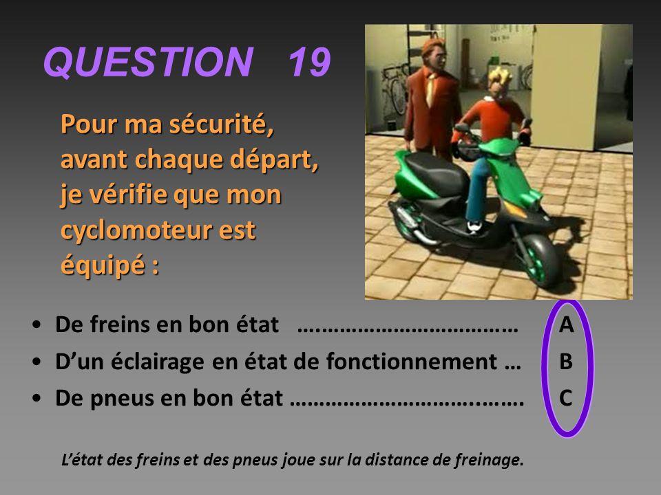 QUESTION 19 Pour ma sécurité, avant chaque départ, je vérifie que mon cyclomoteur est équipé : De freins en bon état ….…………………………… A D'un éclairage en état de fonctionnement …B De pneus en bon état …………………………..…….C L'état des freins et des pneus joue sur la distance de freinage.