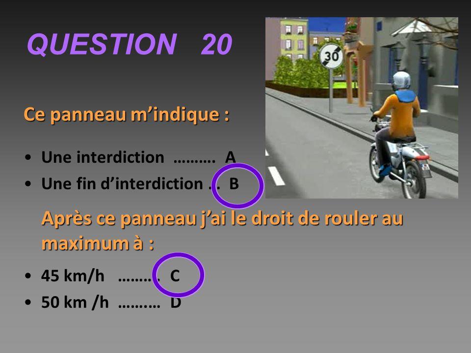 QUESTION 20 Ce panneau m'indique : Une interdiction ……….