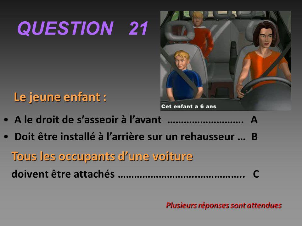 QUESTION 21 Le jeune enfant : A le droit de s'asseoir à l'avant ……………………….