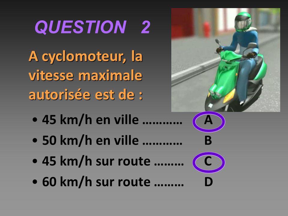 QUESTION 2 45 km/h en ville …………A 50 km/h en ville …………B 45 km/h sur route ……… C 60 km/h sur route ……… D A cyclomoteur, la vitesse maximale autorisée est de :