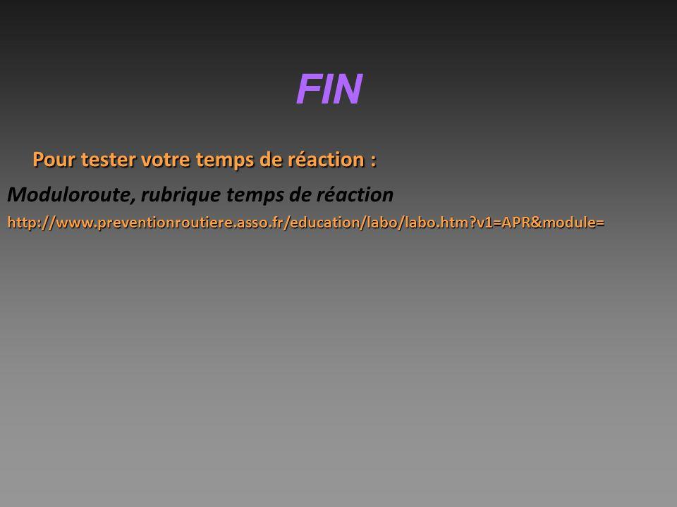 FIN Pour tester votre temps de réaction : Moduloroute, rubrique temps de réactionhttp://www.preventionroutiere.asso.fr/education/labo/labo.htm?v1=APR&module=