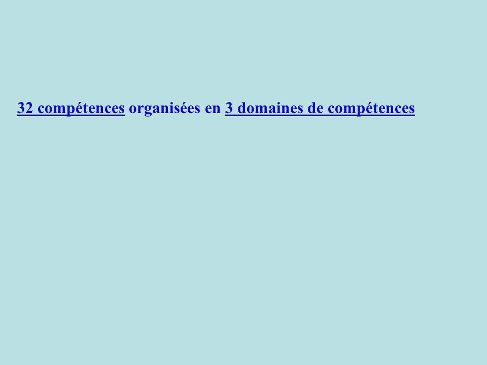 32 compétences organisées en 3 domaines de compétences