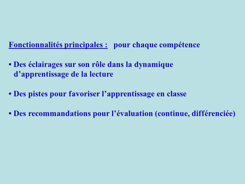 Fonctionnalités principales : pour chaque compétence Des éclairages sur son rôle dans la dynamique d'apprentissage de la lecture Des pistes pour favoriser l'apprentissage en classe Des recommandations pour l'évaluation (continue, différenciée)