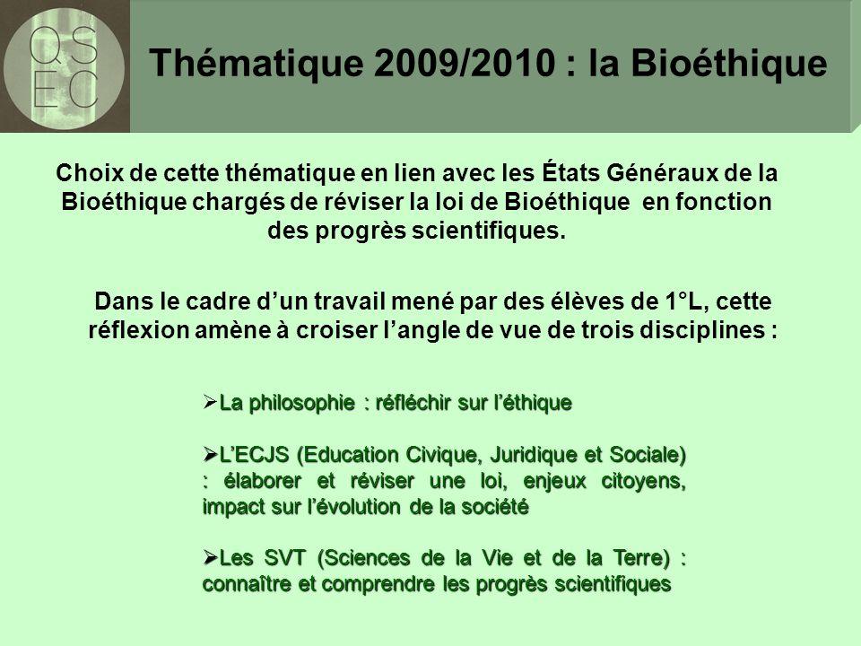 Choix de cette thématique en lien avec les États Généraux de la Bioéthique chargés de réviser la loi de Bioéthique en fonction des progrès scientifiques.