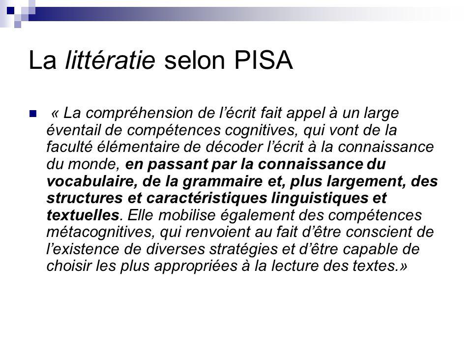 La littératie selon PISA « La compréhension de l'écrit fait appel à un large éventail de compétences cognitives, qui vont de la faculté élémentaire de