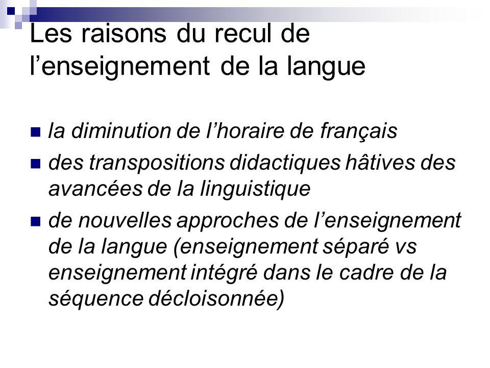 Les raisons du recul de l'enseignement de la langue la diminution de l'horaire de français des transpositions didactiques hâtives des avancées de la l