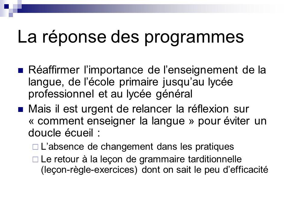 La réponse des programmes Réaffirmer l'importance de l'enseignement de la langue, de l'école primaire jusqu'au lycée professionnel et au lycée général