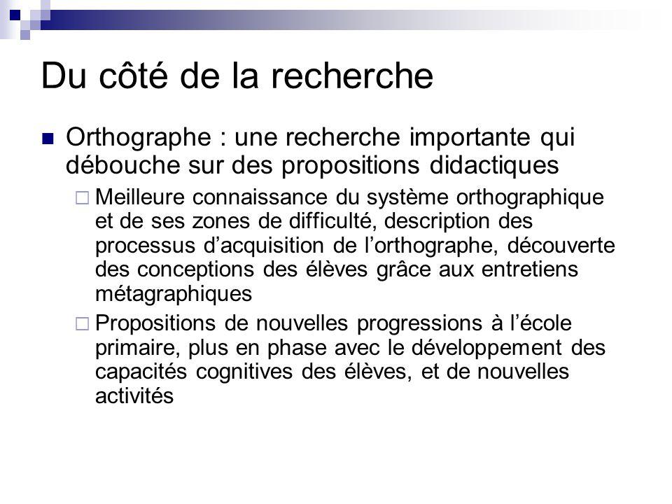 Du côté de la recherche Orthographe : une recherche importante qui débouche sur des propositions didactiques  Meilleure connaissance du système ortho
