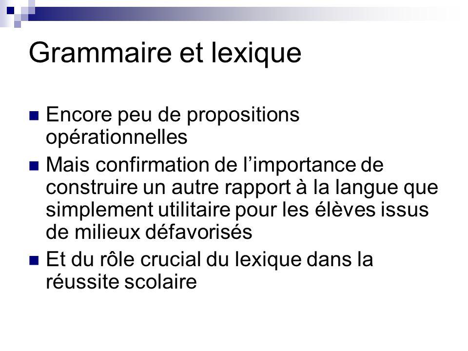 Grammaire et lexique Encore peu de propositions opérationnelles Mais confirmation de l'importance de construire un autre rapport à la langue que simpl