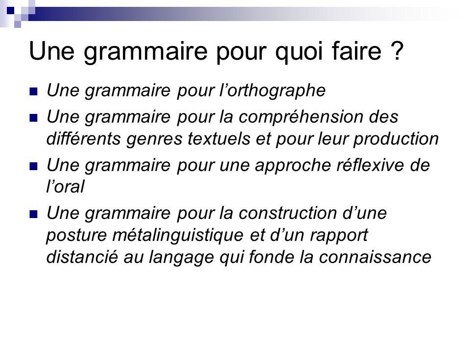 Une grammaire pour quoi faire ? Une grammaire pour l'orthographe Une grammaire pour la compréhension des différents genres textuels et pour leur produ
