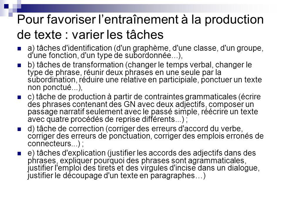 Pour favoriser l'entraînement à la production de texte : varier les tâches a) tâches d'identification (d'un graphème, d'une classe, d'un groupe, d'une
