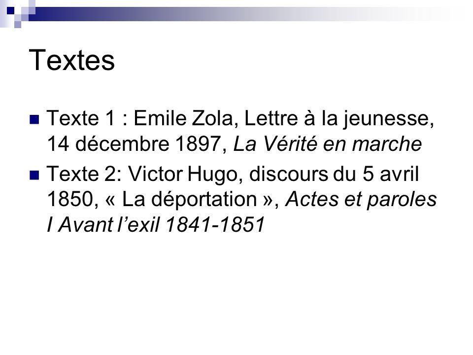 Textes Texte 1 : Emile Zola, Lettre à la jeunesse, 14 décembre 1897, La Vérité en marche Texte 2: Victor Hugo, discours du 5 avril 1850, « La déportat