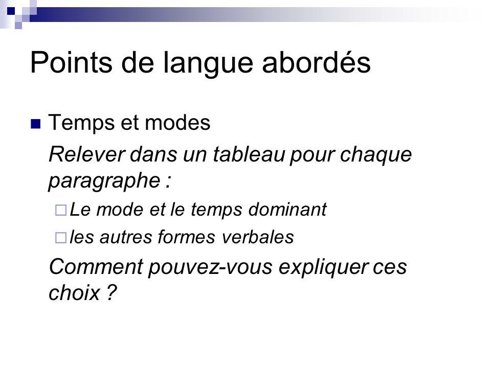 Points de langue abordés Temps et modes Relever dans un tableau pour chaque paragraphe :  Le mode et le temps dominant  les autres formes verbales C