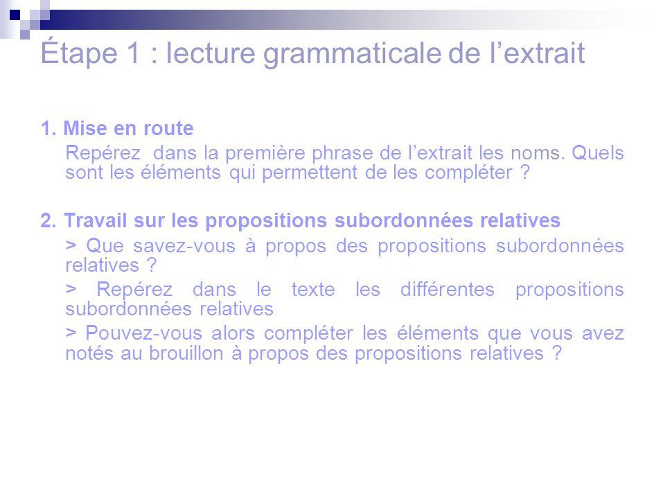 Étape 1 : lecture grammaticale de l'extrait 1. Mise en route Repérez dans la première phrase de l'extrait les noms. Quels sont les éléments qui permet