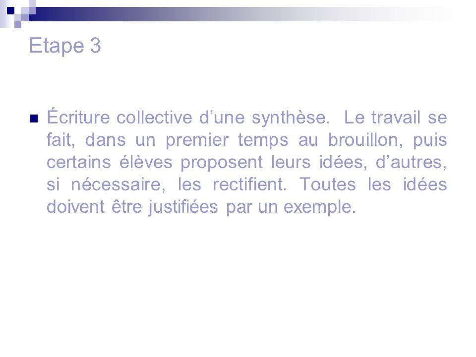 Etape 3 Écriture collective d'une synthèse. Le travail se fait, dans un premier temps au brouillon, puis certains élèves proposent leurs idées, d'autr