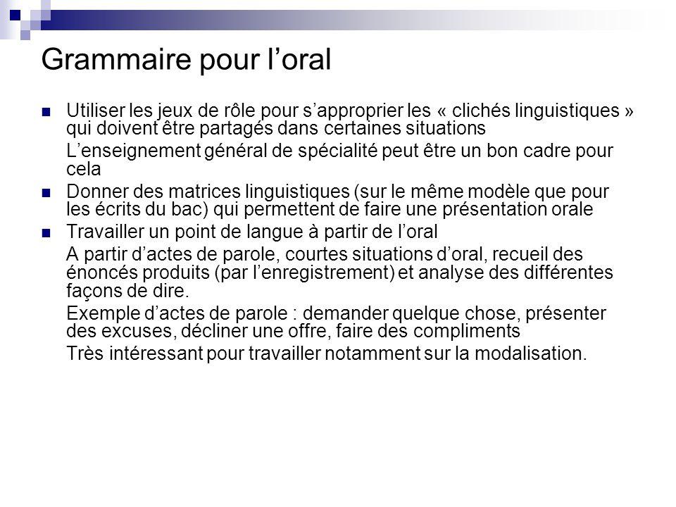 Grammaire pour l'oral Utiliser les jeux de rôle pour s'approprier les « clichés linguistiques » qui doivent être partagés dans certaines situations L'