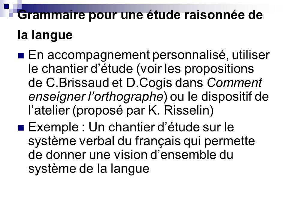 Grammaire pour une étude raisonnée de la langue En accompagnement personnalisé, utiliser le chantier d'étude (voir les propositions de C.Brissaud et D