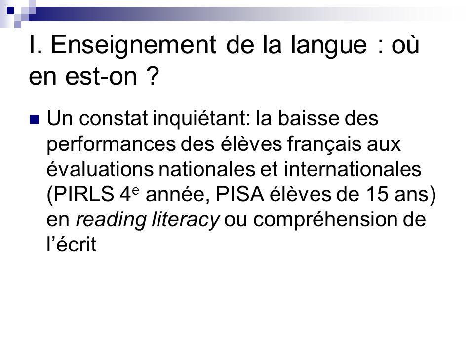 I. Enseignement de la langue : où en est-on ? Un constat inquiétant: la baisse des performances des élèves français aux évaluations nationales et inte