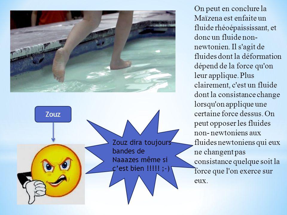 On peut en conclure la Maïzena est enfaite un fluide rhéoépaississant, et donc un fluide non- newtonien.