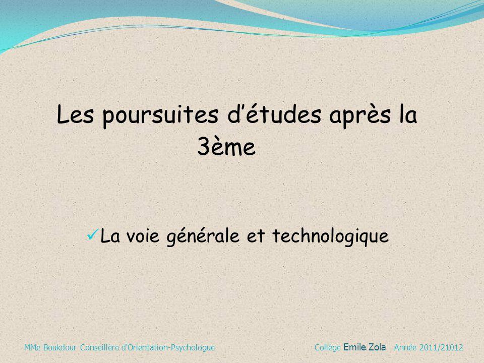 La voie générale et technologique Les poursuites d'études après la 3ème MMe Boukdour Conseillère d'Orientation-Psychologue Collège Emile Zola Année 20