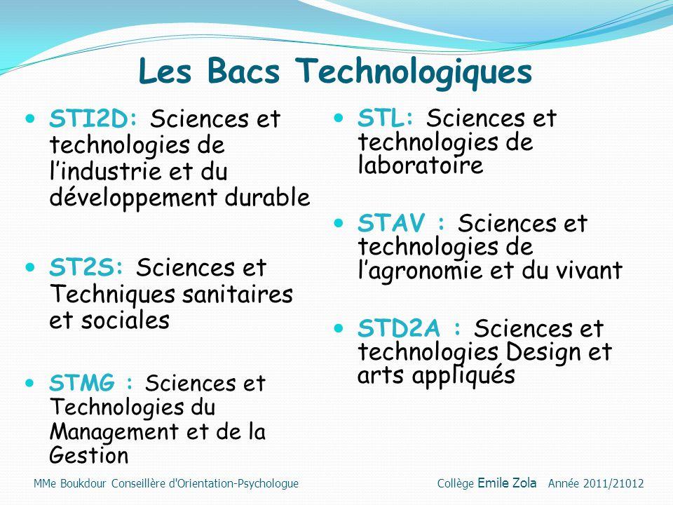 Les Bacs Technologiques STI2D: Sciences et technologies de l'industrie et du développement durable ST2S: Sciences et Techniques sanitaires et sociales
