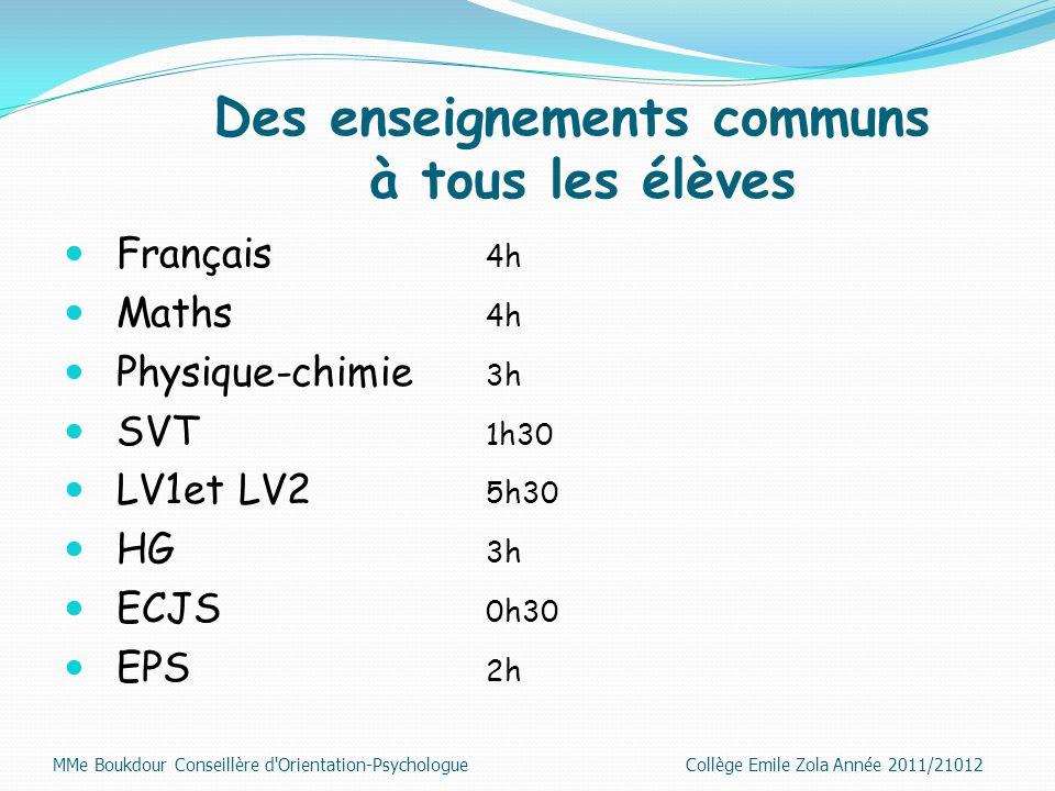 Des enseignements communs à tous les élèves Français 4h Maths 4h Physique-chimie 3h SVT 1h30 LV1et LV2 5h30 HG 3h ECJS 0h30 EPS 2h MMe Boukdour Consei