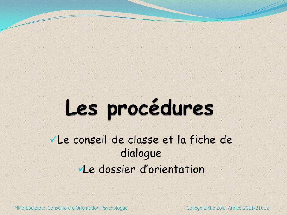 Le conseil de classe et la fiche de dialogue Le dossier d'orientation MMe Boukdour Conseillère d'Orientation-Psychologue Collège Emile Zola Année 2011