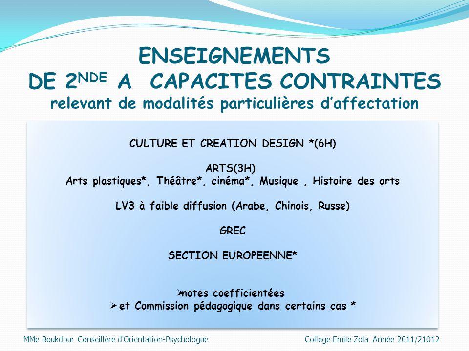 ENSEIGNEMENTS DE 2 NDE A CAPACITES CONTRAINTES relevant de modalités particulières d'affectation CULTURE ET CREATION DESIGN *(6H) ARTS(3H) Arts plasti