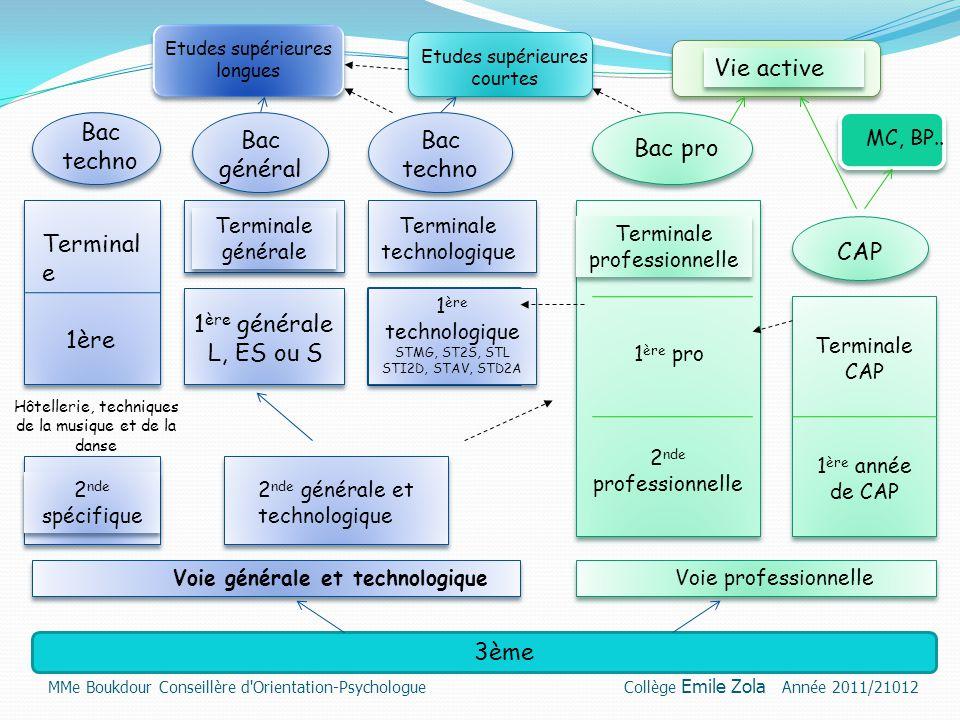 La voie professionnelle Les poursuites d'études après la 3ème MMe Boukdour Conseillère d Orientation-Psychologue Collège Emile Zola Année 2011/21012