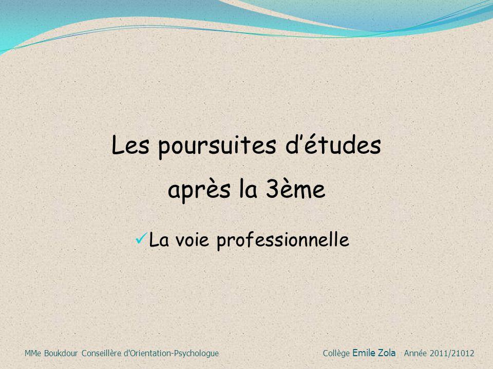 La voie professionnelle Les poursuites d'études après la 3ème MMe Boukdour Conseillère d'Orientation-Psychologue Collège Emile Zola Année 2011/21012