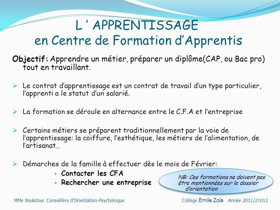 L ' APPRENTISSAGE en Centre de Formation d'Apprentis Objectif: Apprendre un métier, préparer un diplôme(CAP, ou Bac pro) tout en travaillant.  Le con