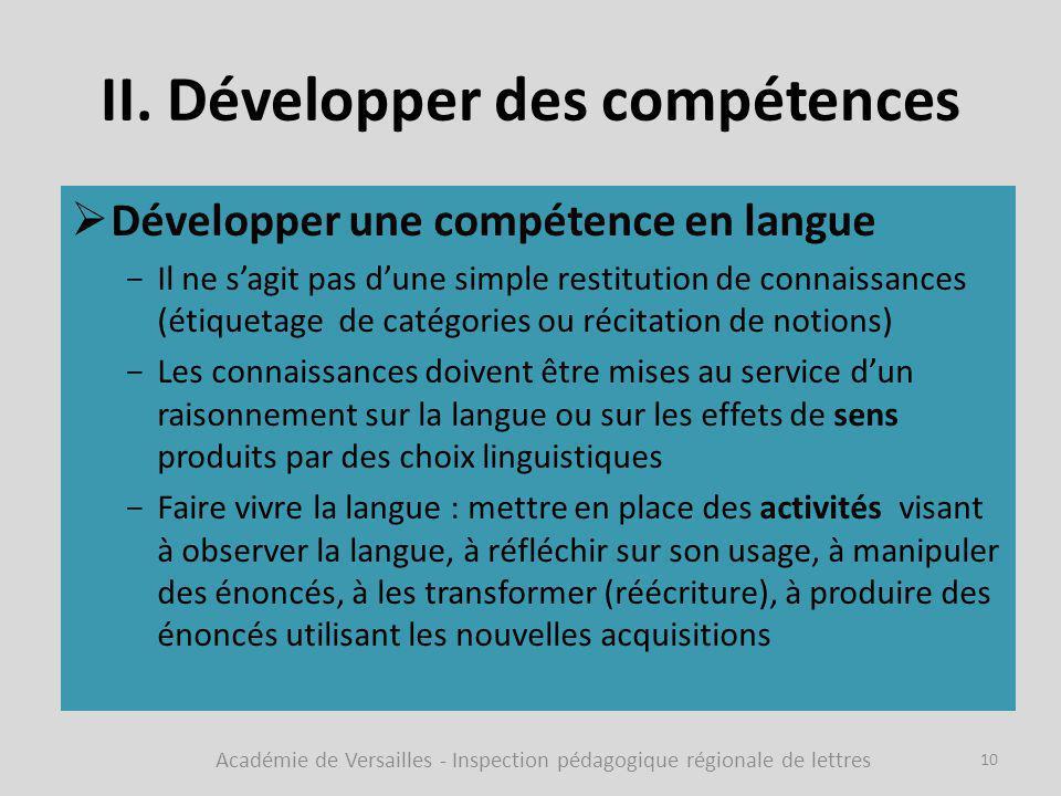 II. Développer des compétences  Développer une compétence en langue -Il ne s'agit pas d'une simple restitution de connaissances (étiquetage de catégo