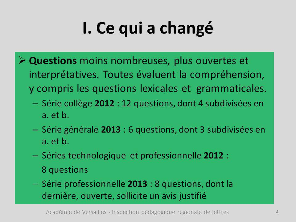 I. Ce qui a changé  Questions moins nombreuses, plus ouvertes et interprétatives. Toutes évaluent la compréhension, y compris les questions lexicales
