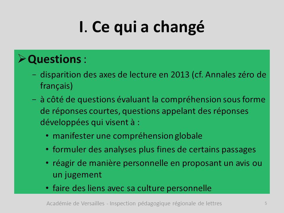 I. Ce qui a changé  Questions : -disparition des axes de lecture en 2013 (cf. Annales zéro de français) -à côté de questions évaluant la compréhensio