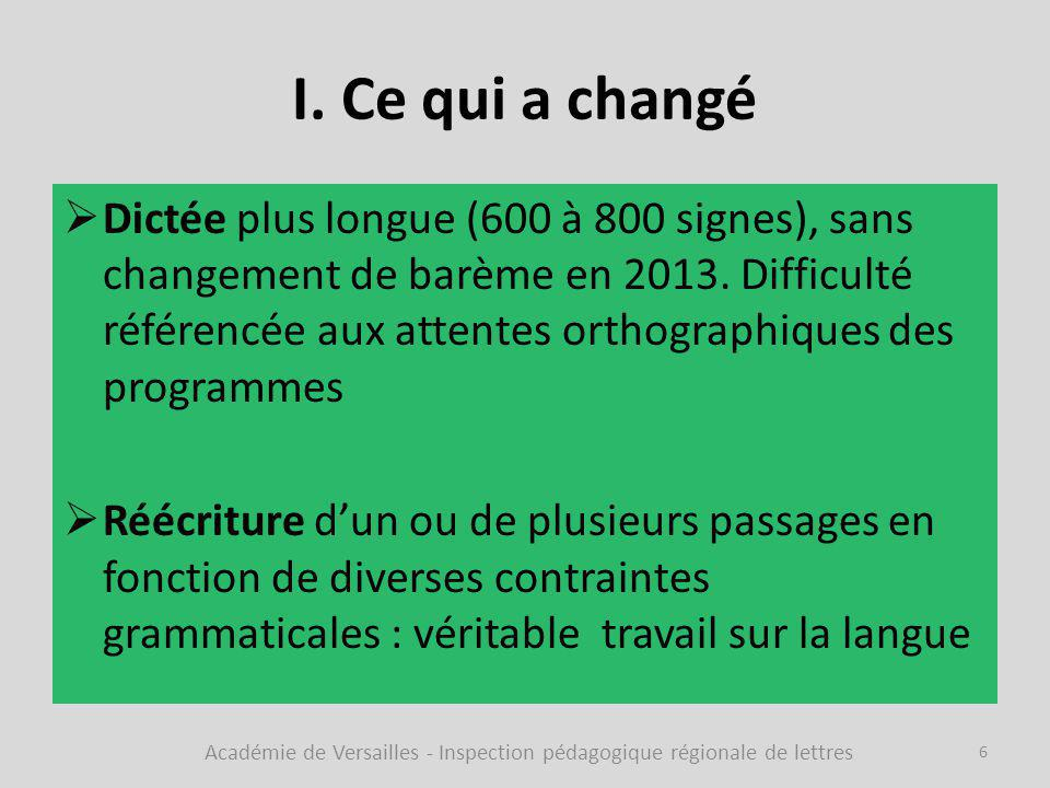 I. Ce qui a changé  Dictée plus longue (600 à 800 signes), sans changement de barème en 2013. Difficulté référencée aux attentes orthographiques des