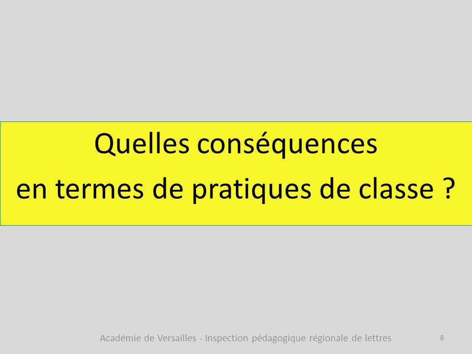 Quelles conséquences en termes de pratiques de classe ? Académie de Versailles - Inspection pédagogique régionale de lettres 8